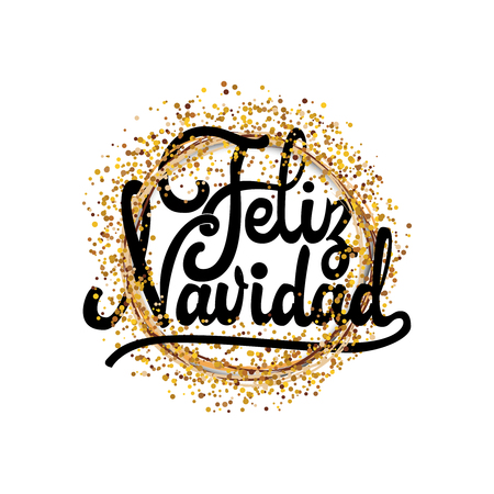 Feliz Navidad - badge with Lettering design card template Creative typography for Holiday Greeting Gift Poster