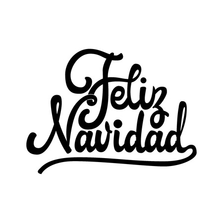 Feliz Navidad - badge with handwritten lettering, Lettering design card template Creative typography for Holiday Greeting Gift Poster