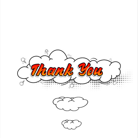 Comic collection word Thank you colored sound chat text effects pop art vector style. 3d font.