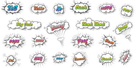 Comic collection colored sound chat text effects pop art vector style. 3d font.