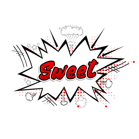 Comic collection word sweet 3d, colored sound chat text effects pop art vector style. Illustration