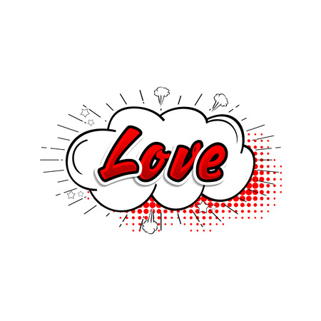 Comic collection word love 3d, colored sound chat text effects pop art vector style.