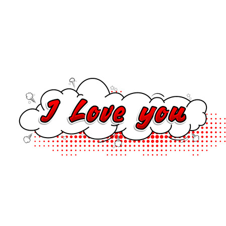 Comic collection I love you 3d, colored sound chat text effects pop art vector style. Illustration
