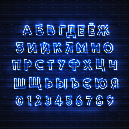 Russian neon font. Glowing alphabet, electric stand, against a brick wall background, Electric Abc..