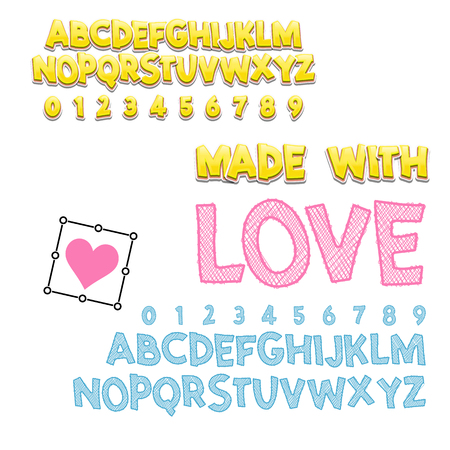 Comic lettering font made with Love, 3d and sketch. Vector alphabet.Hand Lettering script font. Typography alphabet for Designs: Logos, Packaging Design, Poster. ABC... Illustration