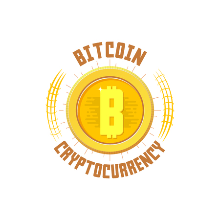Bitcoin bage. Digital money. Blockchain, finance symbol. Cryptocurrency logo sign. For your design.
