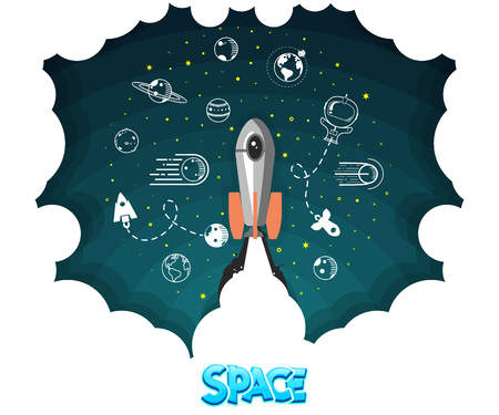 Space rocket launch Planets in orbit and space,  vector illustration Vettoriali