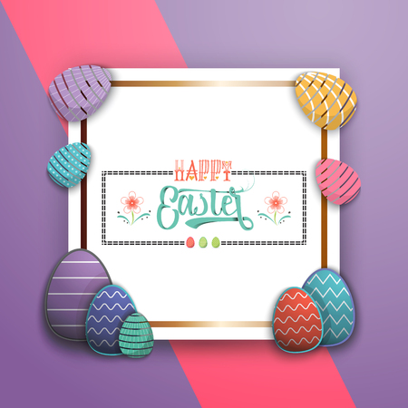 Spring - Easter is a beautiful badge, like a sticker for social networks. Illustration