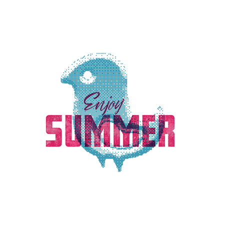 Enjoy summer. Retro sign, badge, banner template. Illustration little bird of the emblem of summer. It is good for printing posters and as an icon on the site. 일러스트