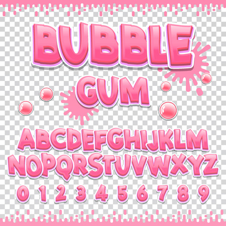 Bubble gum Latin font design. Sweet abc letters and numbers. Cute children alphabet for your design. Vettoriali