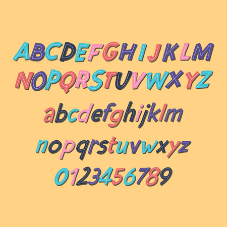Colored Latin alphabet. Childrens font in cute cartoon style. Uppercase and uppercase letters and numbers.