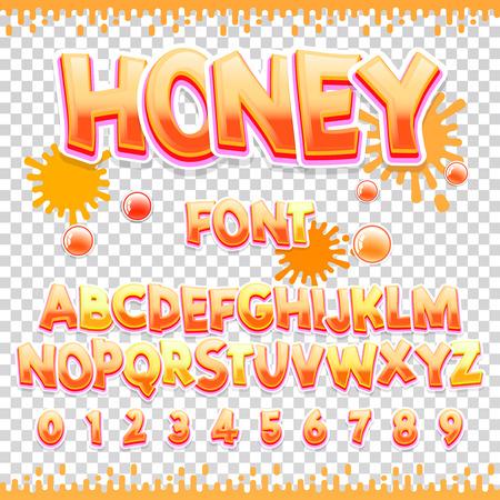 꿀 라틴어 글꼴 디자인. 달콤한 ABC 문자와 숫자. 귀여운 어린이 알파벳. 디자인에 사용할 수 있습니다 일러스트