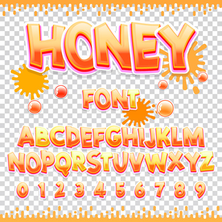 Honey Latin font design. Sweet ABC letters and numbers. Cute children alphabet. Can be used for your design