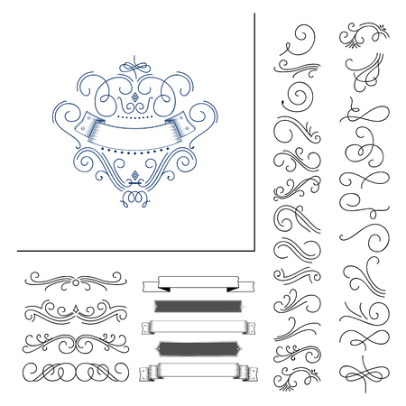 Set of hand drawn flourish elements. Vector illustration Elements of decoration.