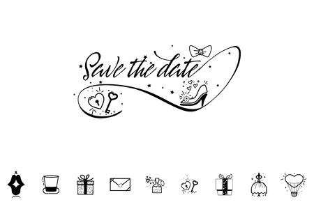Save the date calligraphy vector lettering for wedding or love card - banner for postcards and other uses. Ilustração