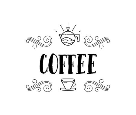 Coffee shop hipster vintage stylized lettering badge vector illustration.