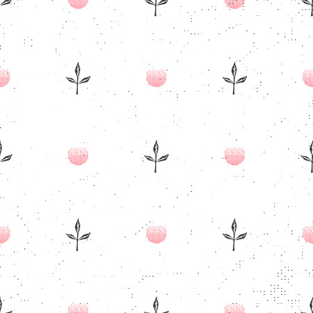 Floral background seamless pattern black and white with dandelion fluff silhouette. Beautiful nature backdrop. Trendy stylish wallpaper. Vector illustration Ilustração