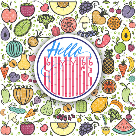 Fruits and vegetables Hello Summer, vegetarian banner, summer isolated color vector icons.