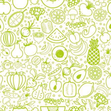 Fruits and vegetables seamless pattern, vegetarian set, isolated vector icons.