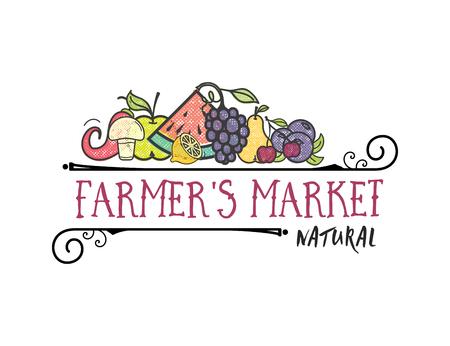 Frutas y verduras, banner vegetariano Mercado de agricultores, iconos de vector de color aislado. Ilustración de vector