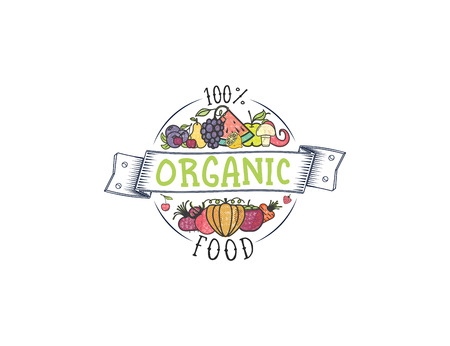 100 percent organic. Fruits and vegetables, vegetarian banner, summer isolated color vector icons.