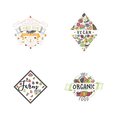 Fruits and vegetables, vegetarian banner set, isolated color vector icons. 일러스트
