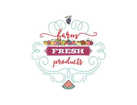 Fruits and vegetables, vegetarian banner farmer fresh, isolated color vector icons.