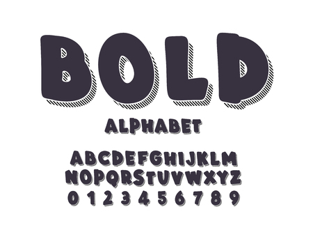 Latin alphabet. Bold font in cute black cartoon 3d style.