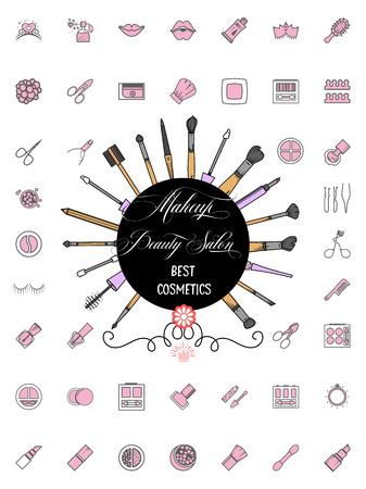 Minimalist icons cosmetics tools, Line art style, makeup brush beauty salon.