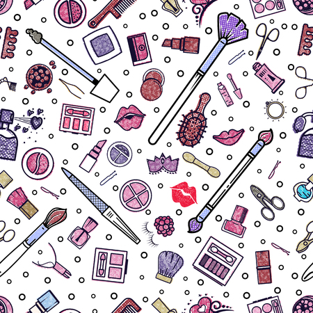 Makeup seamless pattern. Illustrations of different cosmetics. Lipstick and pomade, brushes for make up glamour. Vector background