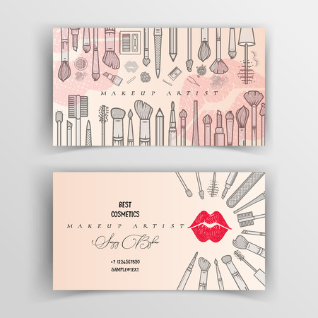 Makeup artist business card. Vector template. Illustration