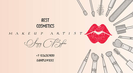 Makeup artist business card. Vector template. Illustration