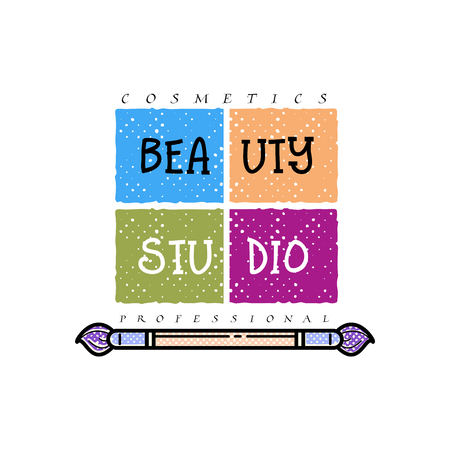 Cosmetics logo, handwritten lettering .Makeup studio, Web elements for a blog, a business card site. Illustration