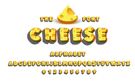 Latin alphabet - Cheese. Trend font 2018 Color in cute cartoon flat style. On a white background.