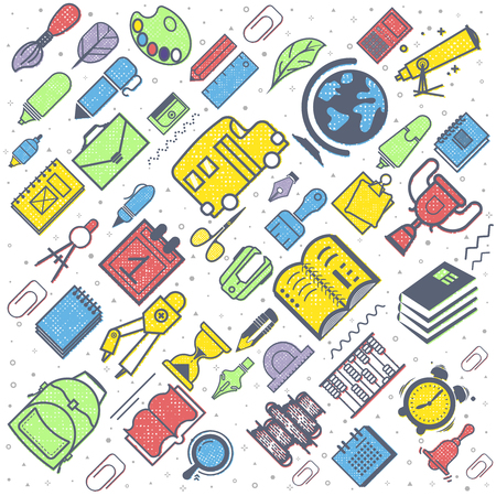 Concept of education seamless pattern. School background with hand drawn school supplies. Back to School lettering colored letters. Illustration