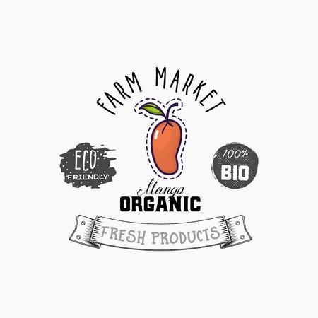 Bio-Aufkleber und Öko-Produkte. Mango-Webelement, isolierter Vektor.