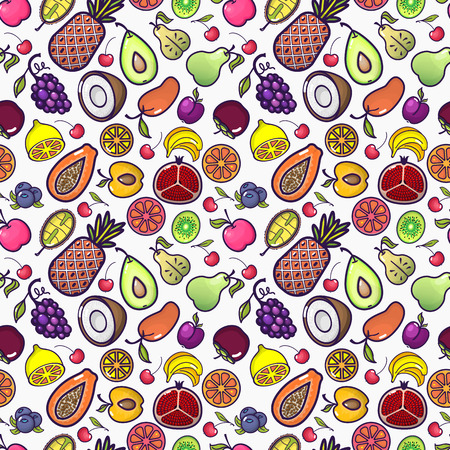 Seamless background with various tropical fruits on white. Vector fruit pattern. Ilustracja