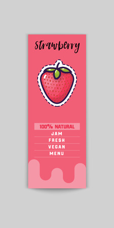 Strawberry sticker and eco products. Strawberry web element, Isolated Vector.