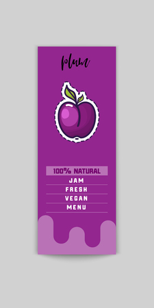 Plum sticker and eco products. Plum web element, Isolated Vector.