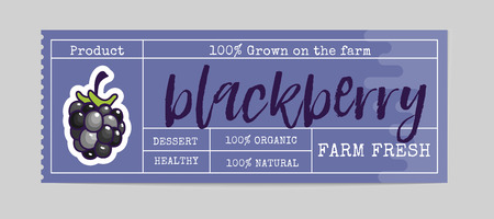 Blackberry Bio sticker and eco products. Blackberry web element, Isolated Vector. Ilustracja