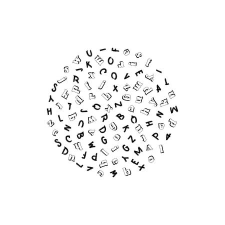 Vector seamless con le lettere dell'alfabeto in ordine casuale su uno sfondo bianco. Adatto per sfondi web, tessuti e carta da imballaggio.