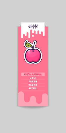 Apple Bio sticker and eco products. Apple web element, Isolated Vector.