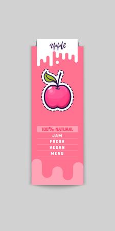 Autocollant Apple Bio et produits écologiques. Élément web Apple, vecteur isolé.