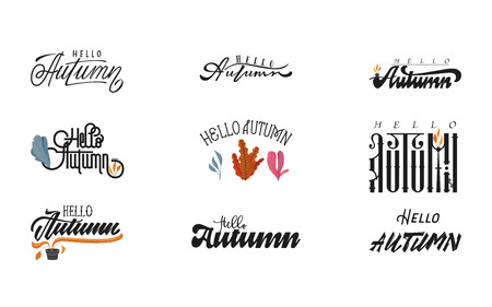Vector set of lettering phrase. Hand drawn seasons inspiration quotes. Handwritten modern brush calligraphy for invitation and greeting card, t-shirt, prints and posters