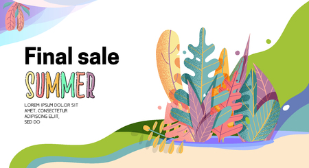 Landing Page -Summer Final Sale, leaves on the background. For your design.