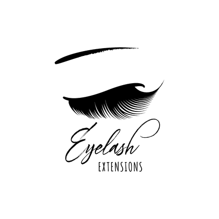 Eyelash extension banner. Template for Makeup and cosmetic procedures. Web element for social networks or badge for corporate identity