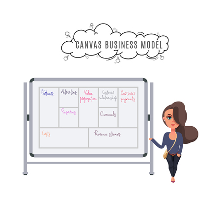 Illustration concept the man present with whiteboard business model canvas. Vector illustrate. Vetores