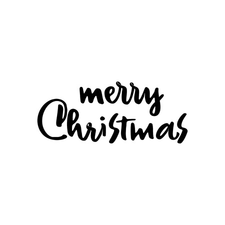 Merry Christmas lettering template. Monochrome greeting card or invitation. Wish you a happy new year . Winter holidays related typographic quote. Stock Photo - 111793504