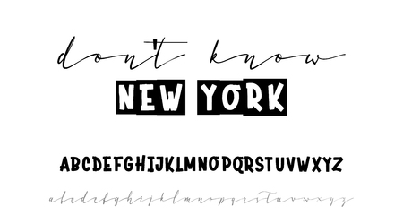 Dont know new york. Slogan or interior poster. Handwritten calligraphy elegant script and bold for gift cards. On a white background Ilustração