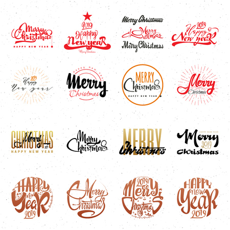 Congratulations Happy New Year and Merry Christmas, calligraphy for cards, posters and covers and holiday doodles